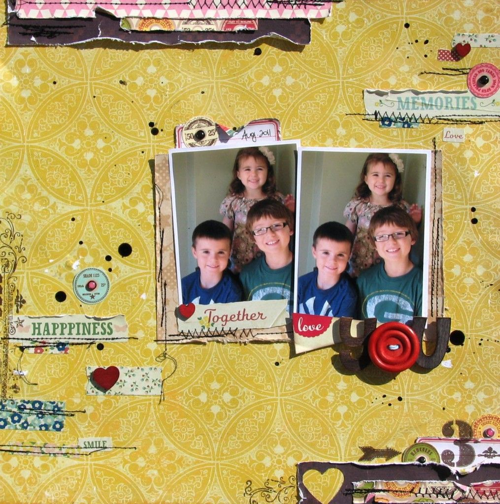 Great use of the Pebbels masking tape stickers in this layout by Nicole Nowosad using the Scrapbook Circle Fresh Picked kit