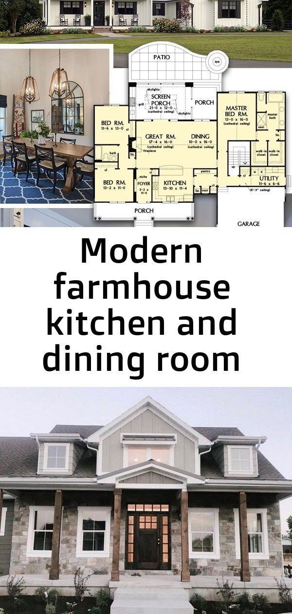 Modern Farmhouse Kitchen And Dining Room From The Coleraine House Plan 1335 1905 Sq Ft 3 Beds 4 Modern Farmhouse Kitchens House Plans Modern Farmhouse