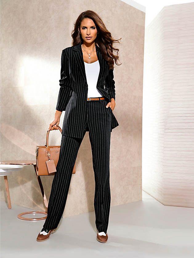 tenue veste de tailleur rayures classiques coupe ajust e pantalon l gant femme coupe ample. Black Bedroom Furniture Sets. Home Design Ideas