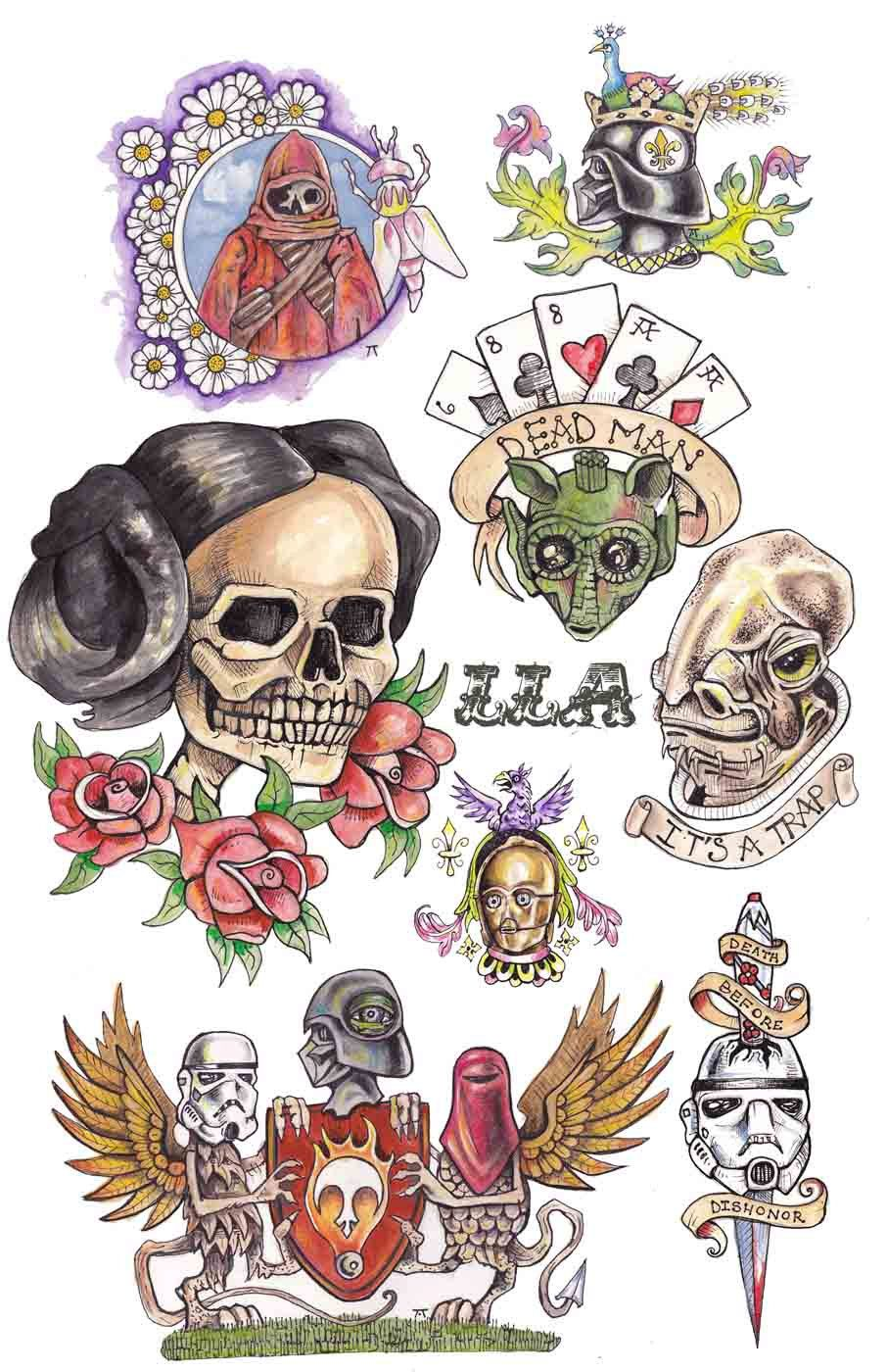 Star Wars Poster Tattoo Flash Page By Lc Lecamp On Etsy Star