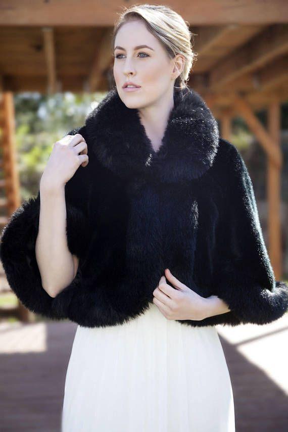 Black Faux Fur Bridal Coat Wedding Shrug White Wrap