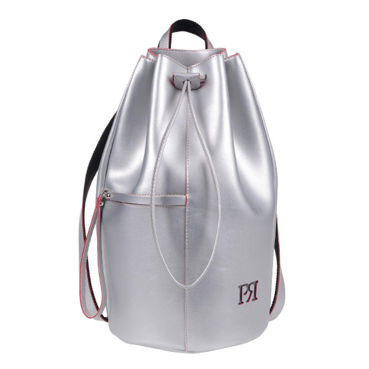 3b3a6acff4 ΤΣΑΝΤΑ PIERRO 00175 ΑΣΗΜΙ Σακίδιο πλάτης τύπου πουγκί με εξωτερικό τσεπάκι  με φερμουάρ. Ύψος 40