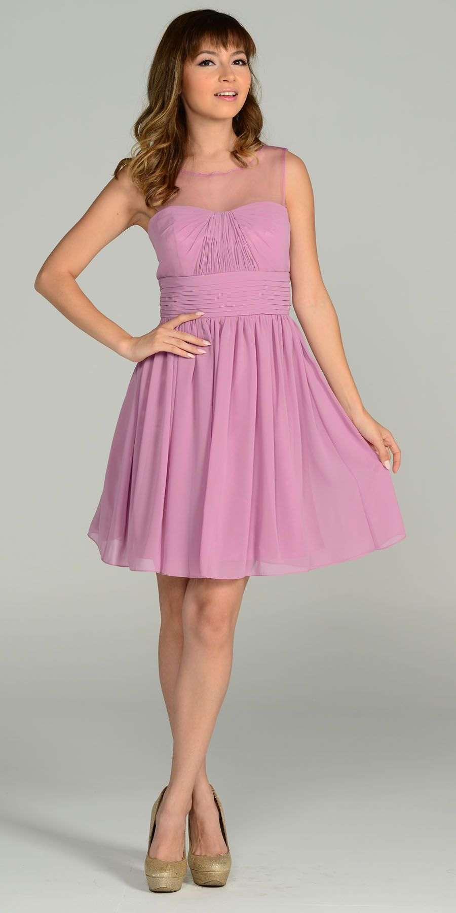 Short Sleeveless Chiffon Bridesmaid Dress Mauve Mist Illusion Neck ...