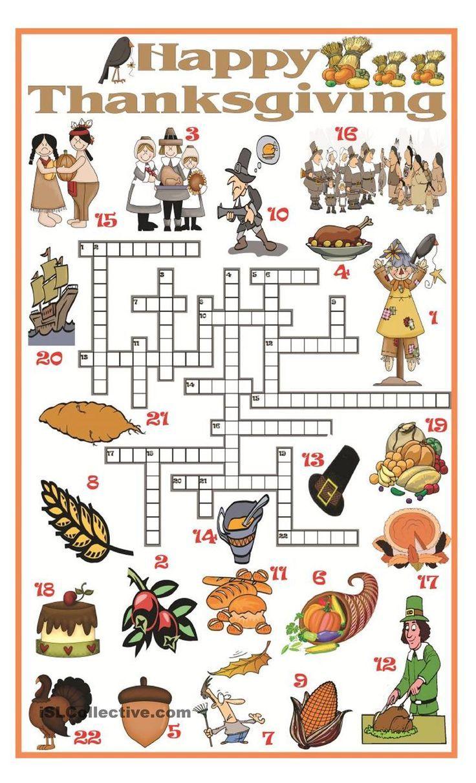 Thanksgiving crossword in 2019 Thanksgiving worksheets