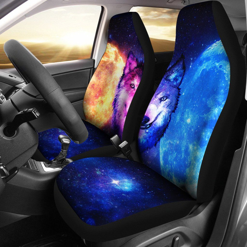 Two faces wolf galaxy car seat covers th7 | Seat covers, Car seats
