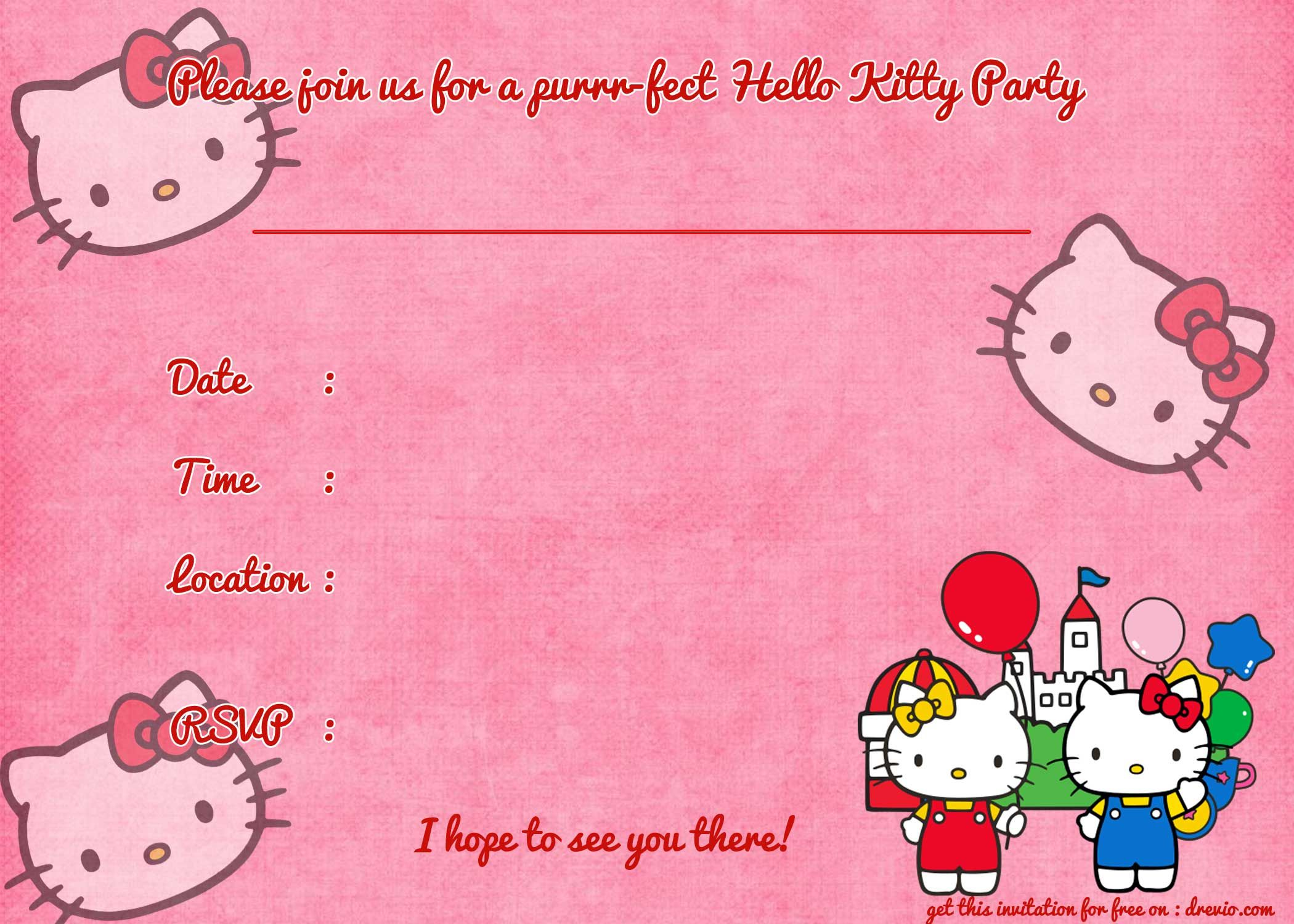 Printable Hello Kitty Birthday Invitation Template Pinterest