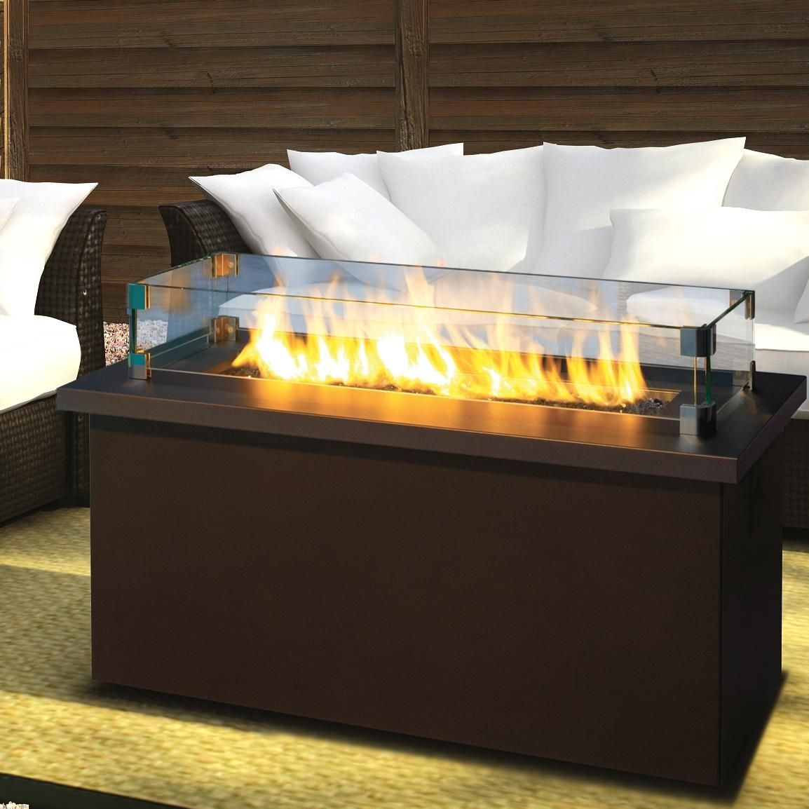 Firegear Key West Propane Gas Fire Pit Coffee Table With Bronze Top