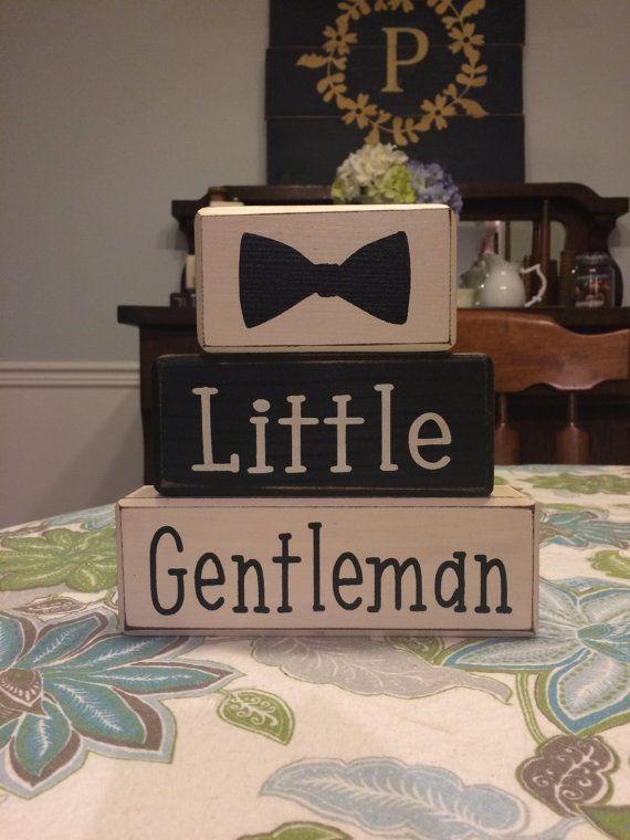 Superb Little Gentleman Baby Shower Dapper Baby Boy Stacking Wood Sign Blocks  Bowtie Mustache Little Man Custom Personalized Shelf Sitter