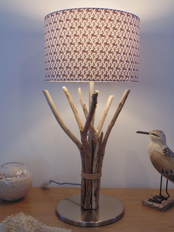 lampe en bois flott abat jour cylindre 28cm mod le