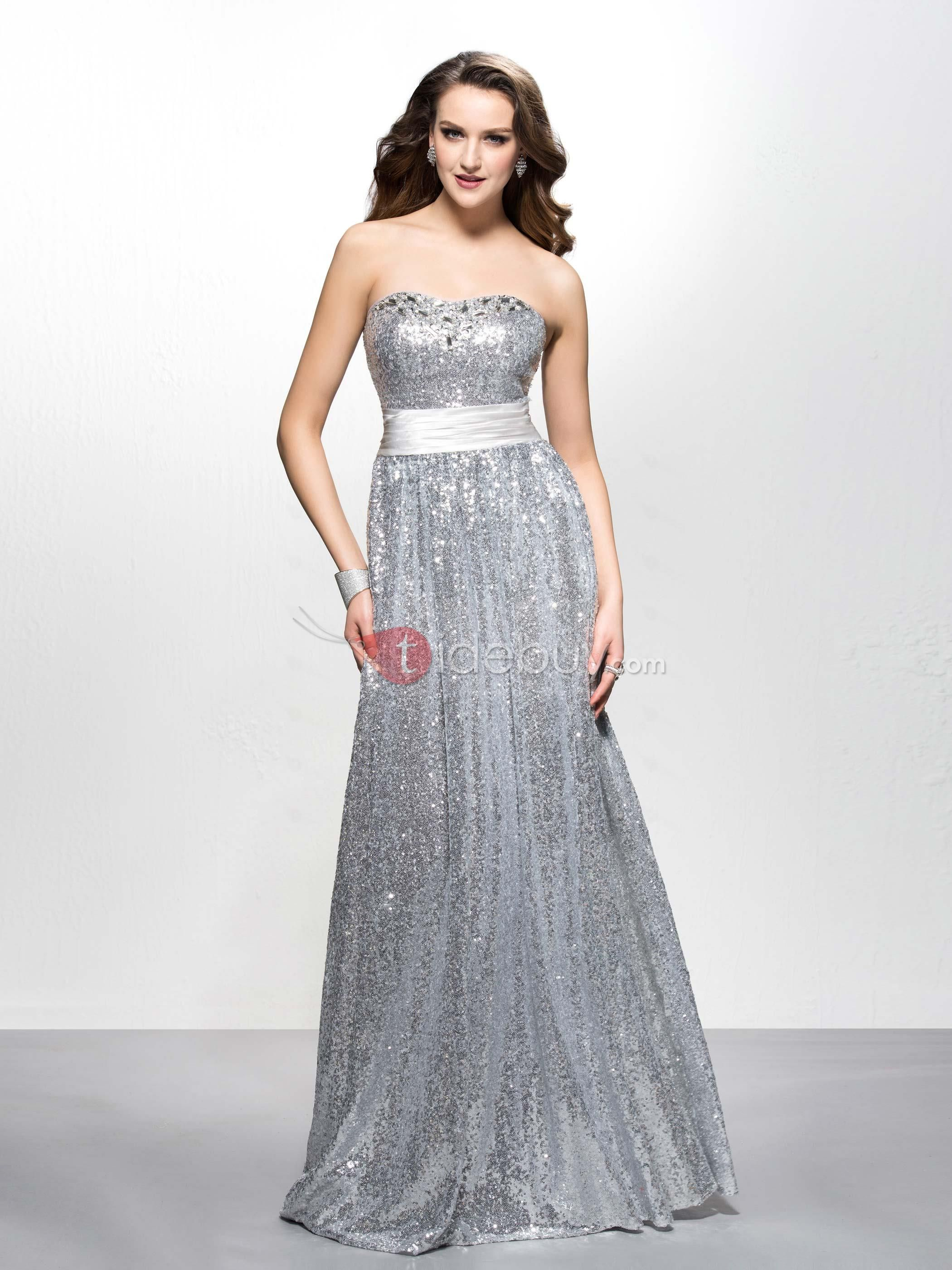 Sparkling aline sweetheart sequins beading floorlength evening