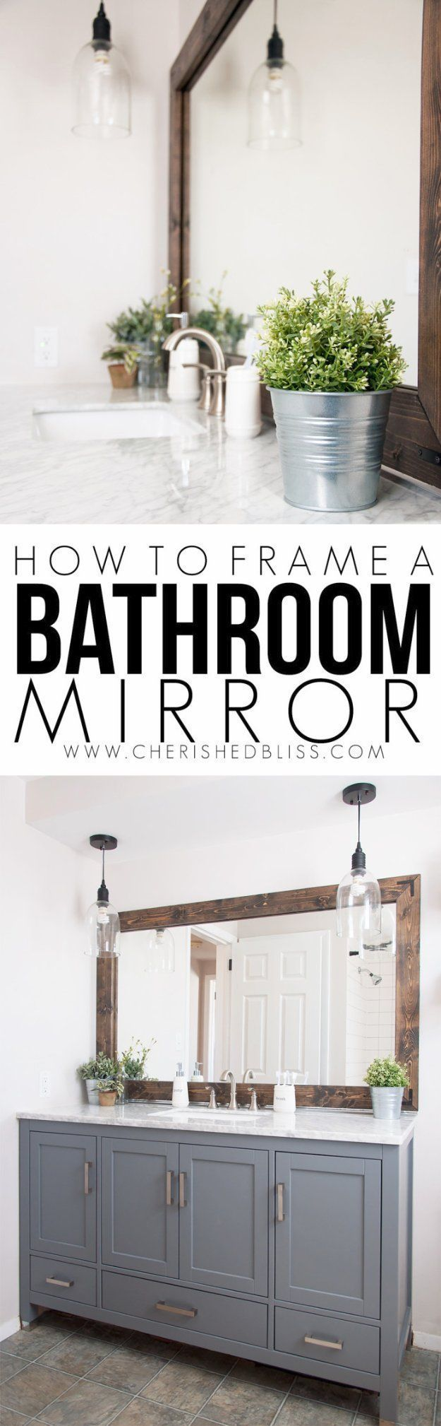 Diy Badezimmer Dekor Ideen Holzrahmen Badezimmerspiegel Tutorial