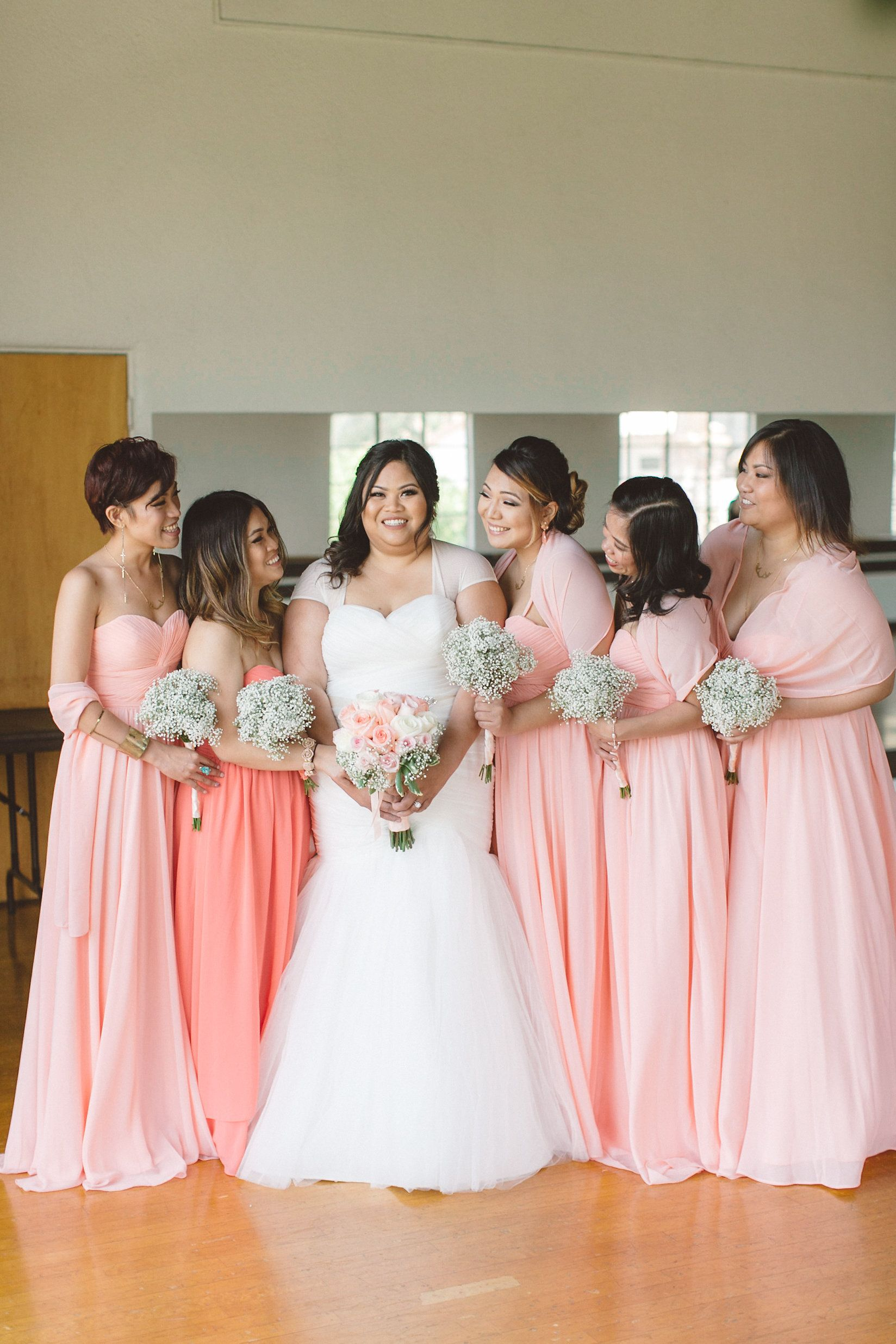 Peach and pink wedding wedding bridal poses and wedding pink and coral bridesmaids weddingchicks ombrellifo Gallery