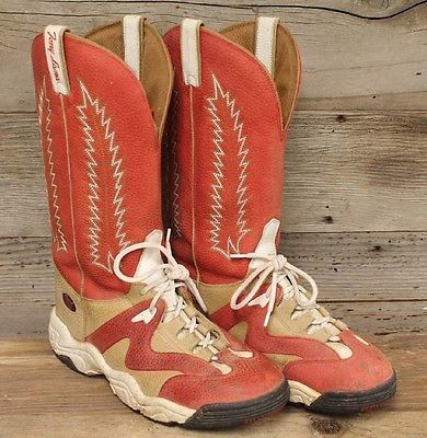 Mens Tony Lama Red Leather Teny Cowboy Sneaker Boot Sz 9d
