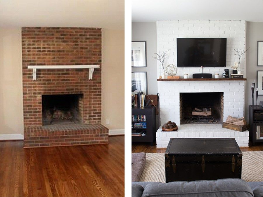 How to Paint a Brick Fireplace Fireplace, Brick