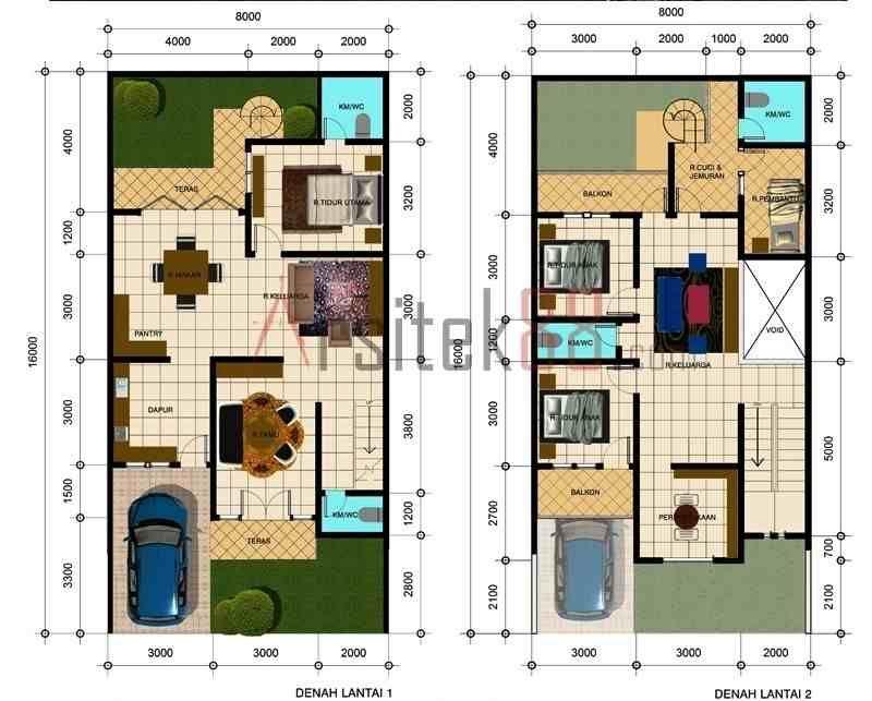 denah rumah sederhana 4 kamar tidur foto atau gambar