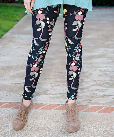d185ecb53b929d Look at this #zulilyfind! Sage & Black Floral Leggings - Women ...