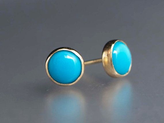 Turquoise Gold Stud Earrings 6mm Solid 14k Settings Posts And Backs