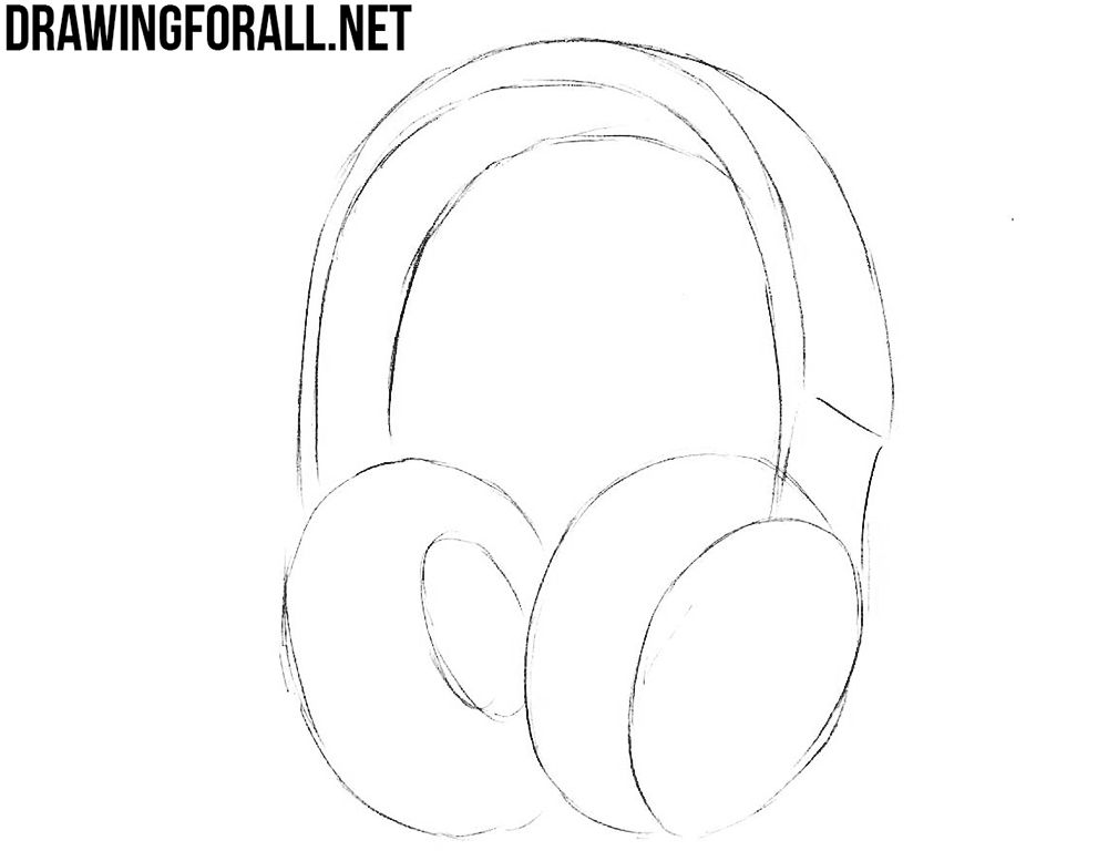 How To Draw Headphones Step By Step Headphones Drawing Drawings Step By Step Drawing