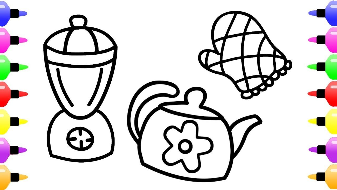 Set Kitchen Coloring Book For Kids Coloring Page For Children