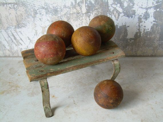 Vintage Rustic Croquet Balls Grouping of by TheArtifactoryStudio, $35.00