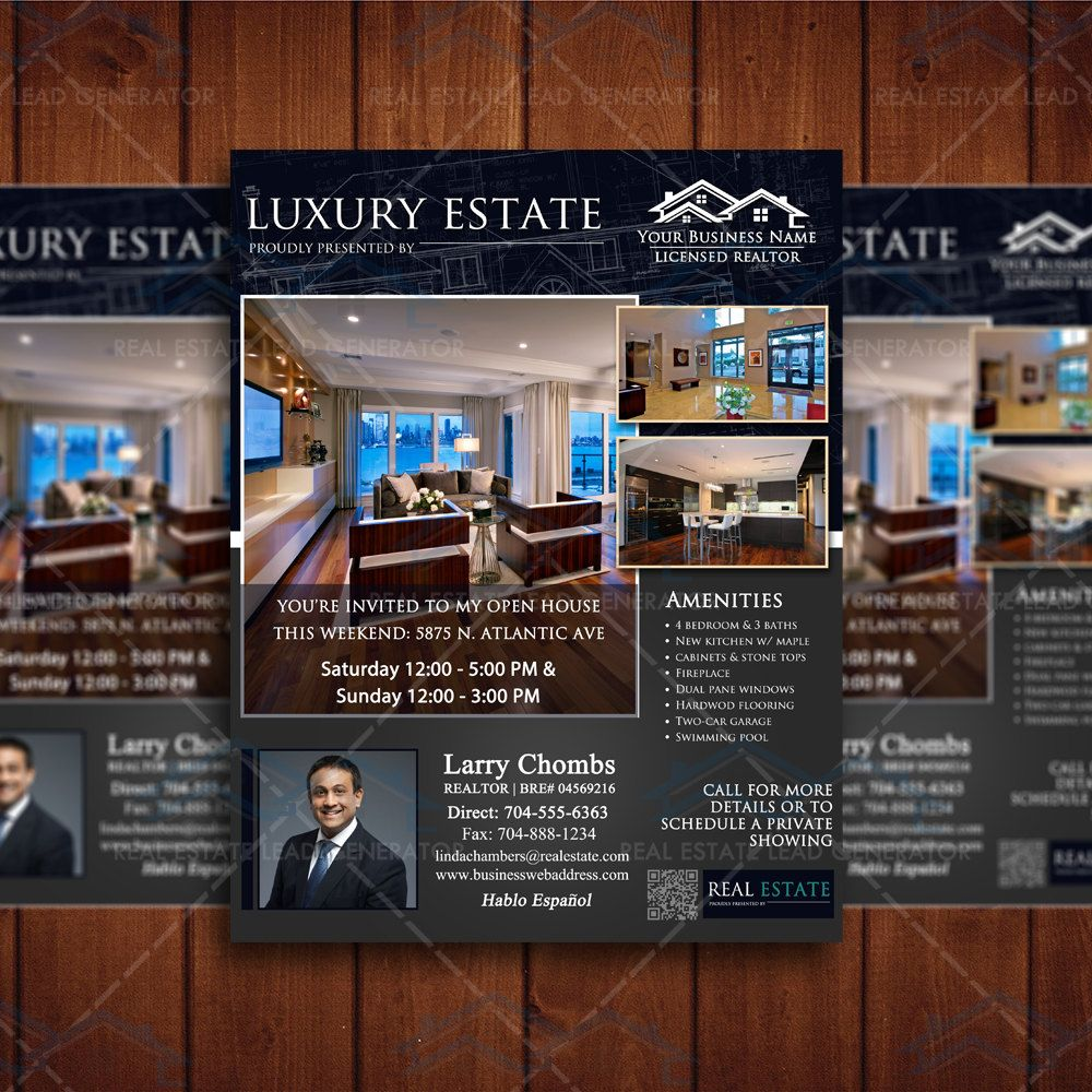 Open House Real Estate Flyer Template Property Listing Brochure