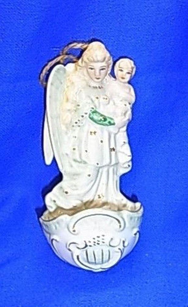 Vintage German Porcelain Holy Water Font Angel Figurine