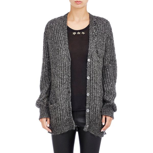 Saint Laurent Distressed Open-Knit Cardigan ($1,350) ❤ liked on ...