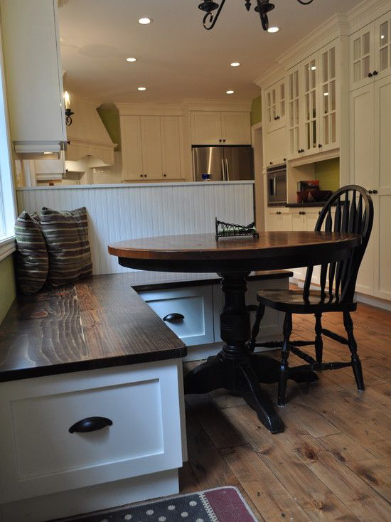 Dark Top On Built In Kitchen Bench With Table Wood And Black Base Traditional Corner Banquette Storage Round Oak Seat