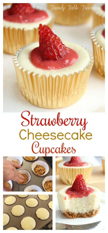 Strawberry Cheesecake Cupcakes - Family Table Treasures