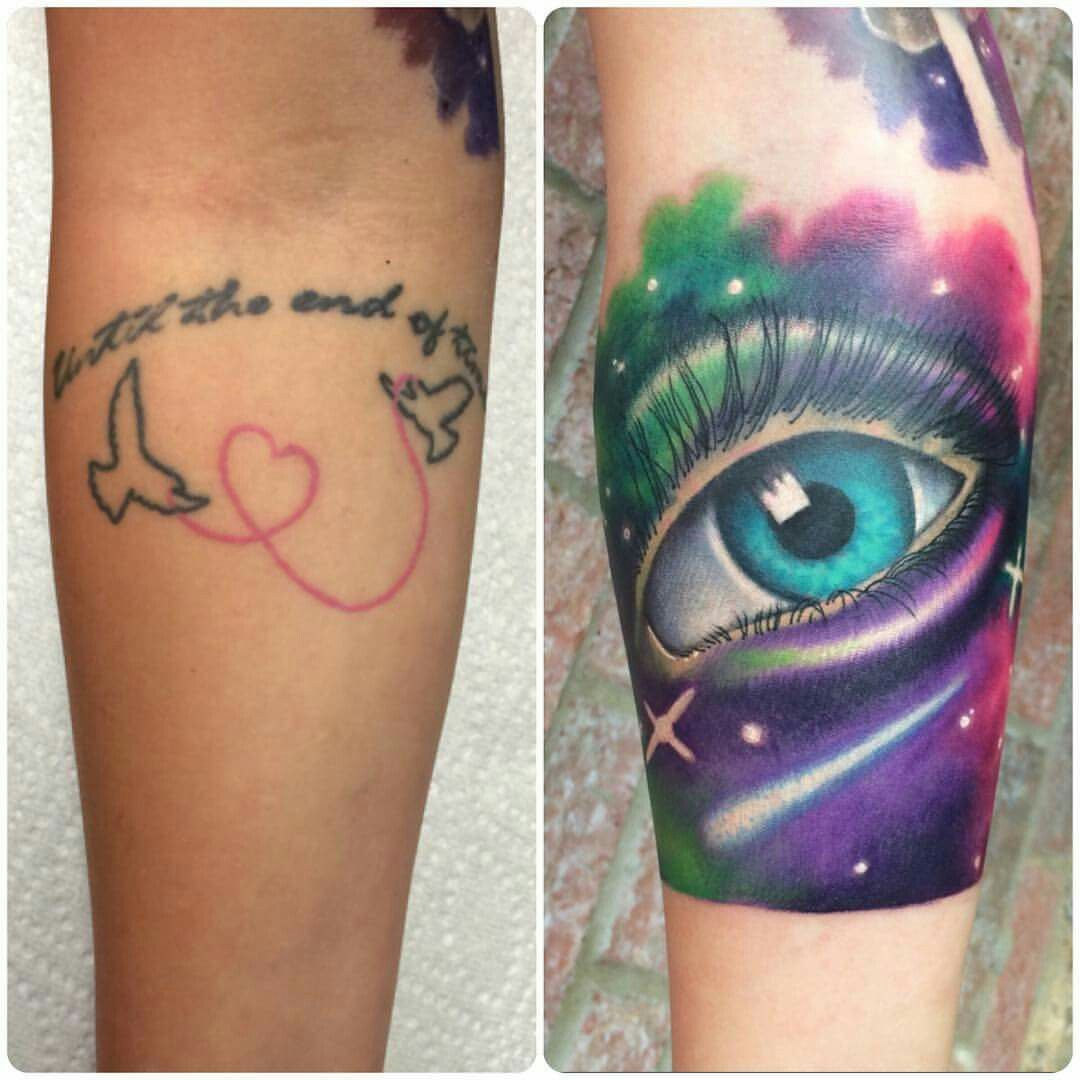 Heart cover up tattoo ideas space eye cover up tony at imperial tattoo  tattoos  pinterest