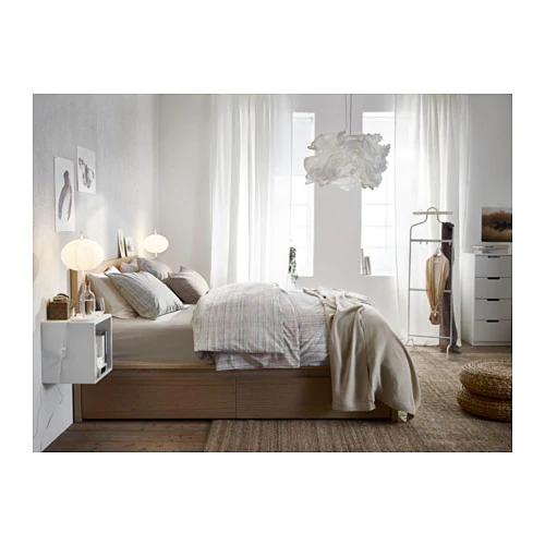 Ikea Malm White Stained Oak Veneer Luröy High Bed Frame4