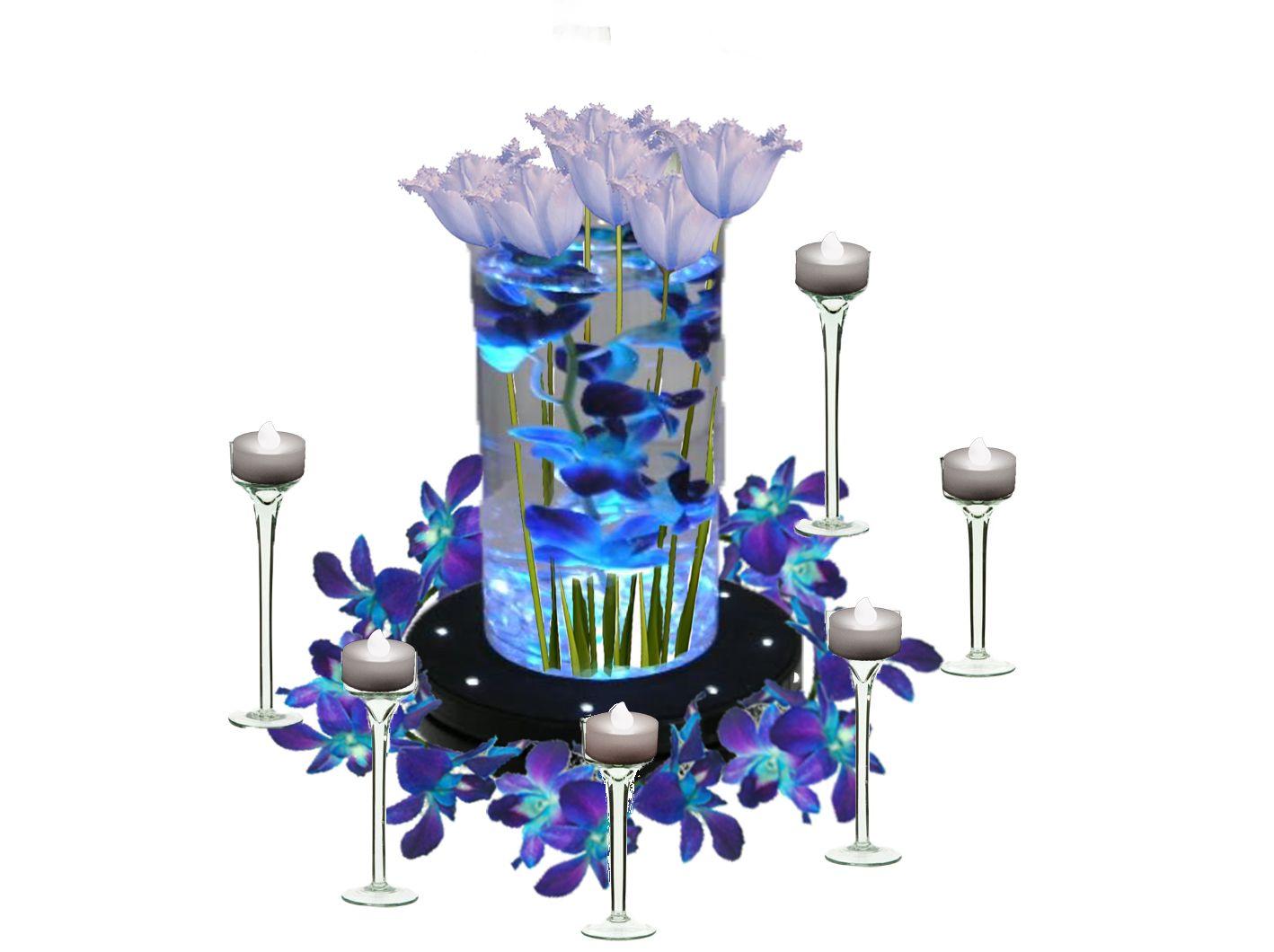 Diy centerpieces blue orchids orchid