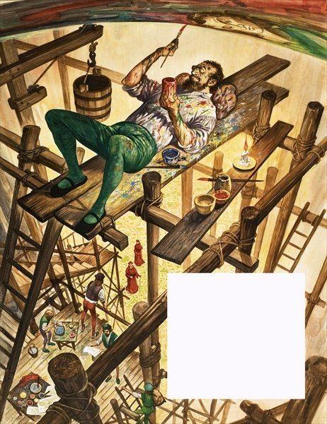 Resultado de imagen de miguel angel pintando la capilla sixtina