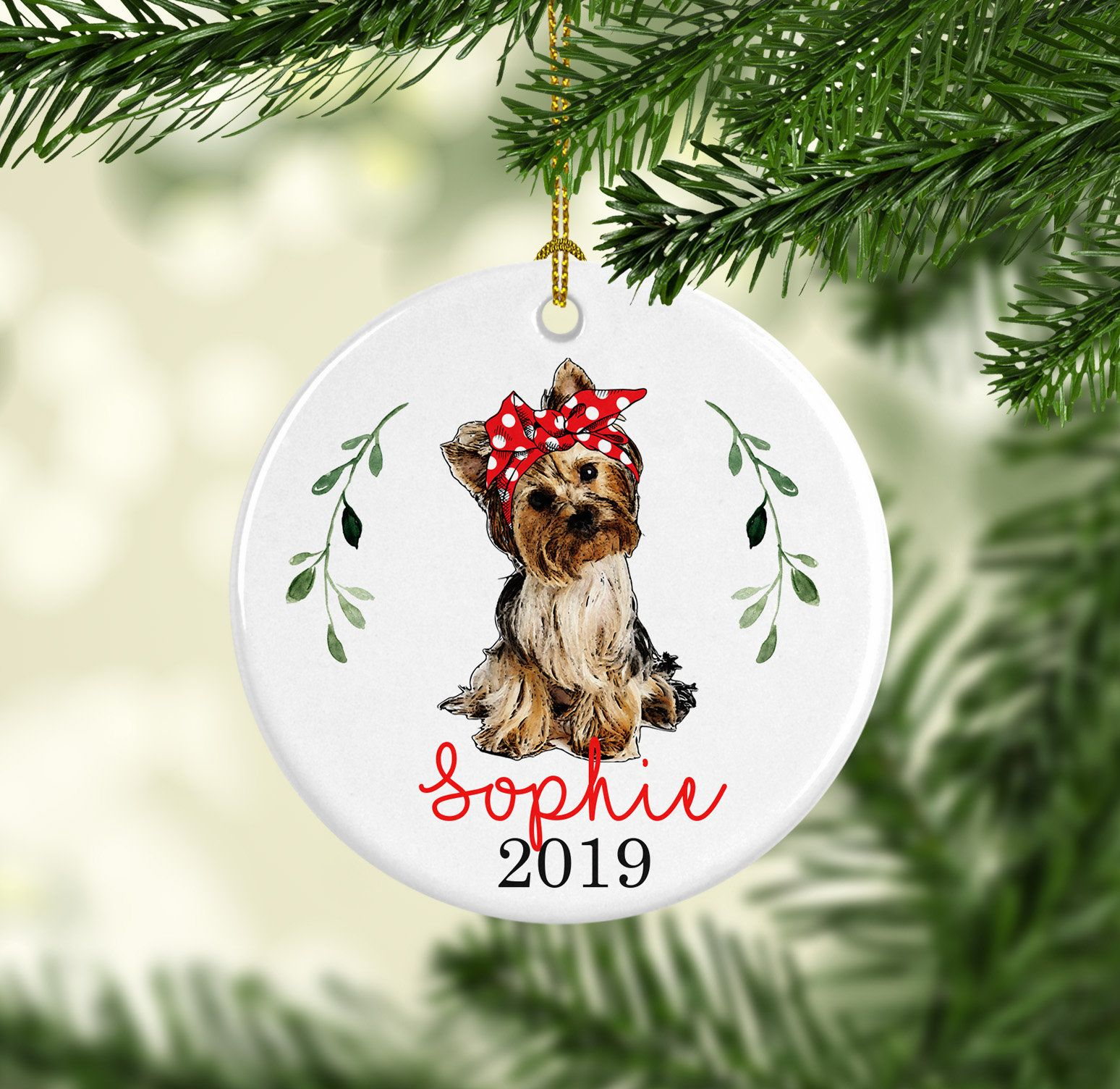 Yorkie ornament, gift for yorkie lover, pet Christmas ...