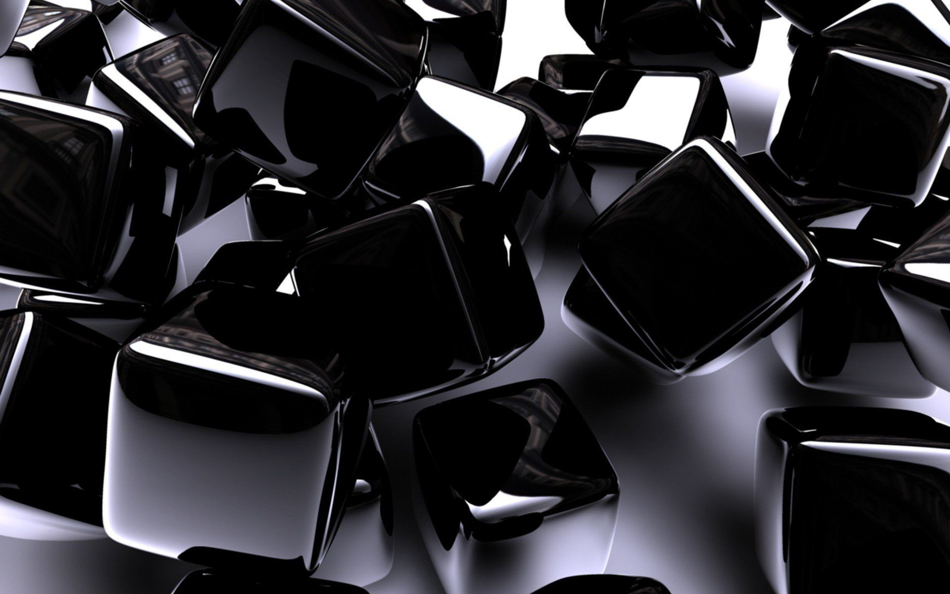 Shiny black cubes widescreen desktop mobile iphone android