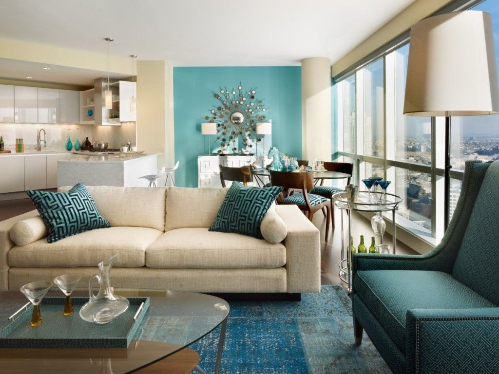living room: aqua blue themed living room decorating with beige