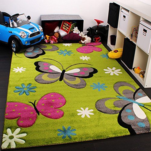 Kids carpet with butterfly design childrens room rug green cream red pink size 80x150 cm - Tappeti camera da letto amazon ...