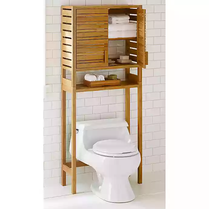 Bamboo Over The Toilet Space Saver With Two Doors Bed Bath