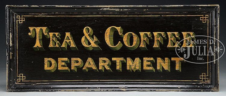 """Black background with gold and green lettering. SIZE: 19-3/4"""" h x 48"""" w. CONDITION: Some loss to black paint on frame, otherwise very good. 49745-1"""