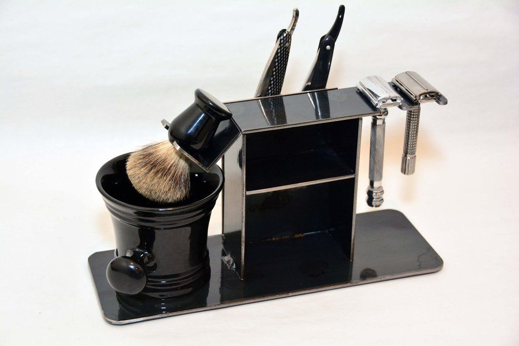 Shaving Stand for Two Straight Razors, Two Double Edge