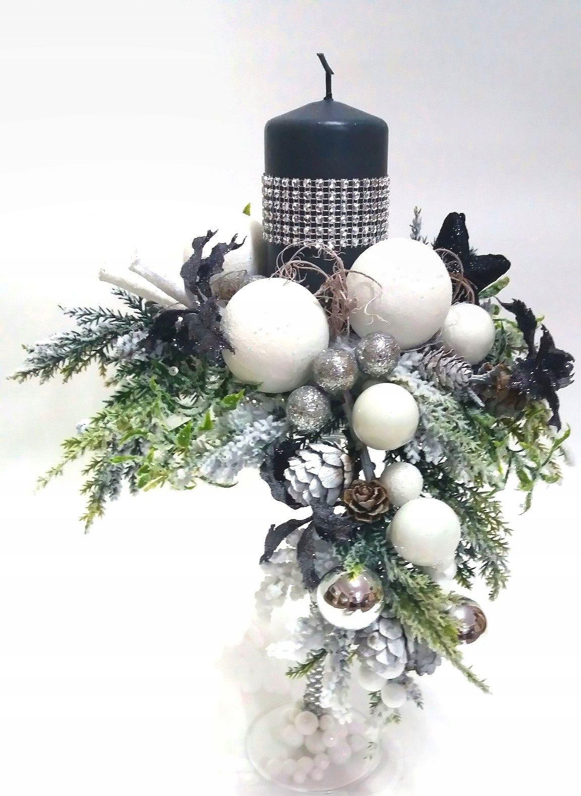 Swiecznik Swiateczny Bozonarodzeniowy Szklo Stroik 5806165293 Oficjalne Archiwum Allegro Christmas Floral Arrangements Holiday Decor Christmas Christmas Flower Arrangements