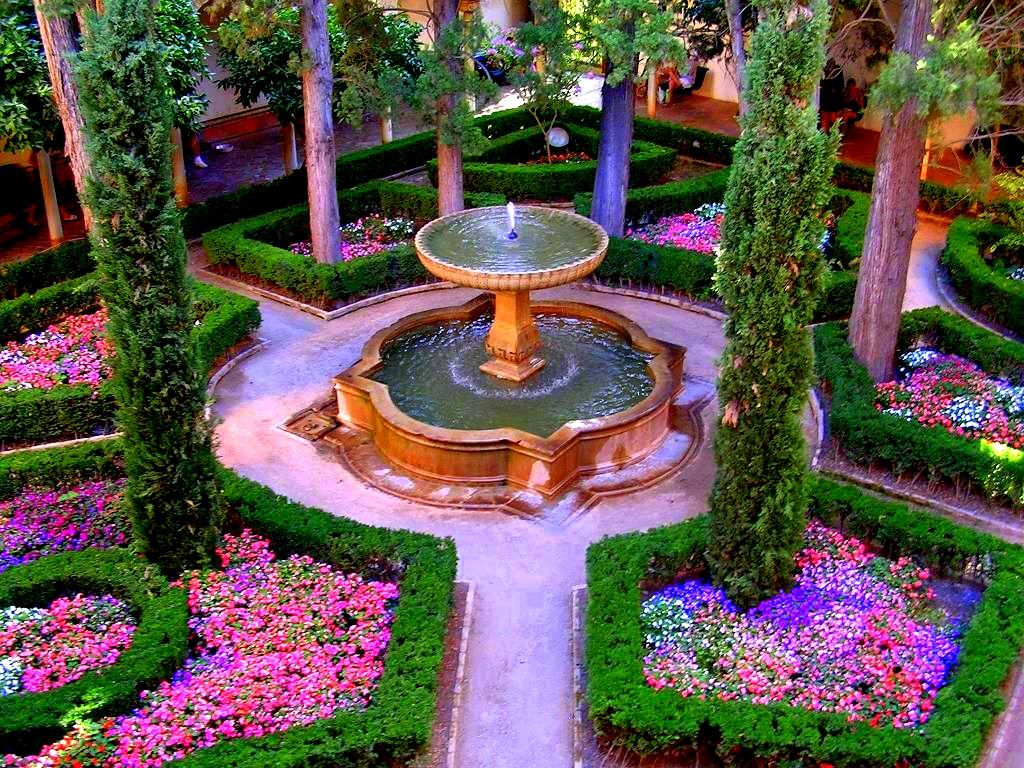Formal spanish garden alahambra dream home pinterest for Spanish garden designs