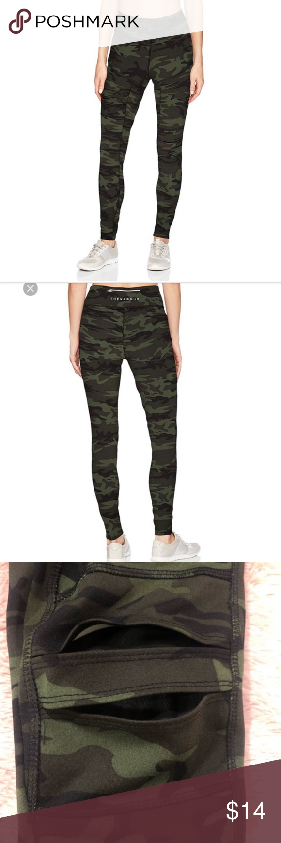 a9b1e76b8fa23 Jessica Simpson Workout Leggings Used, Camo, Jessica Simpson the warm up.  Zip back waist pocket. Slits in left knee and right upper thigh with sheer  black ...