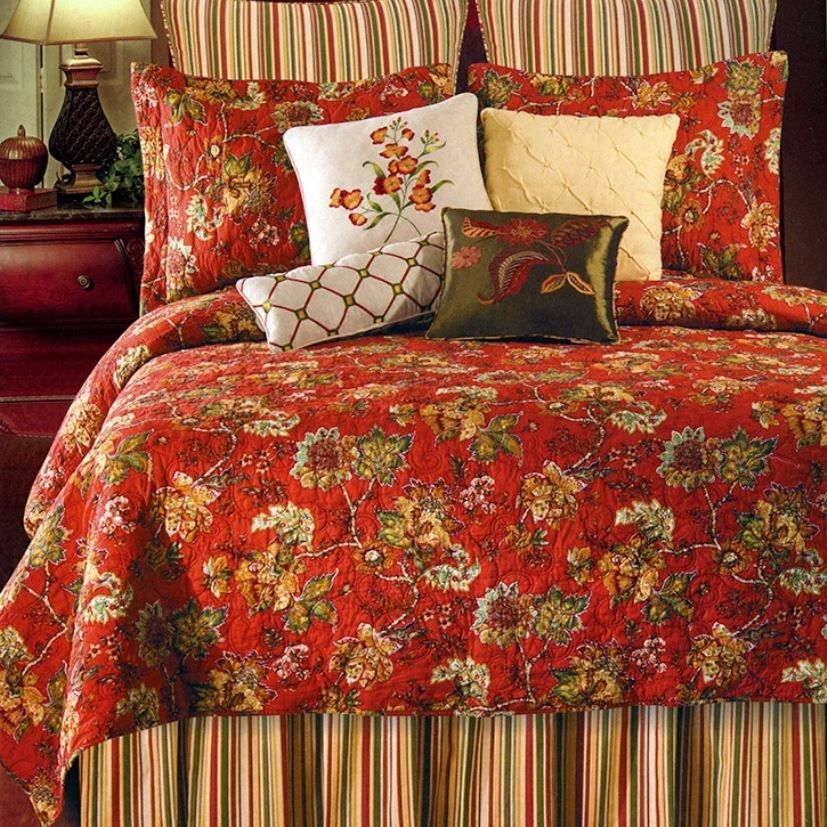 Florentine Red Floral Quilt by Williamsburg | Country House ... : williamsburg quilts - Adamdwight.com