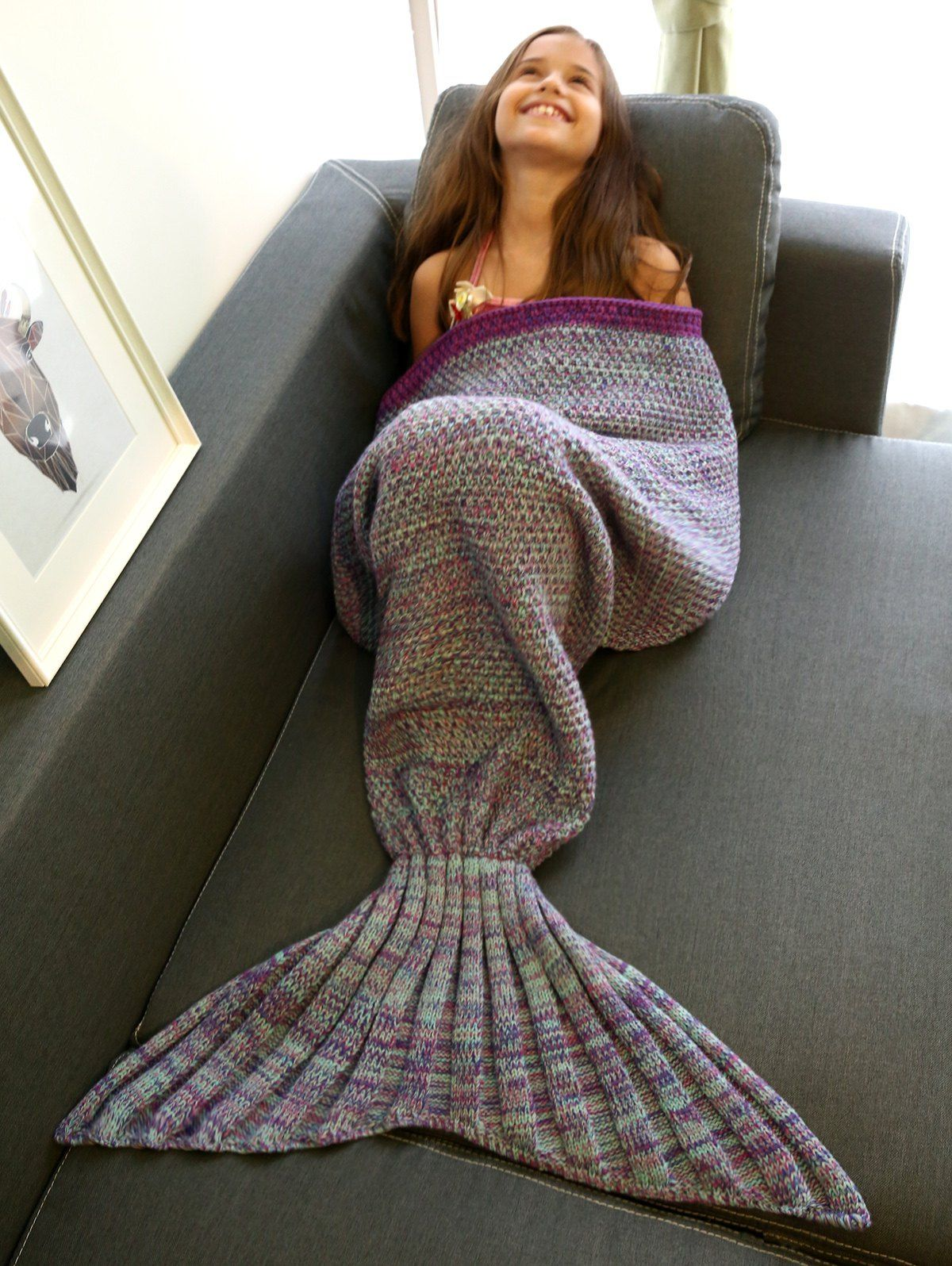   Black Friday Sale: Extra 15% OFF Using Code SAMMY2016   Super Soft Multi-Colored Knitted Mermaid Tail Design Blanket For Kid in Colormix   Sammydress.com