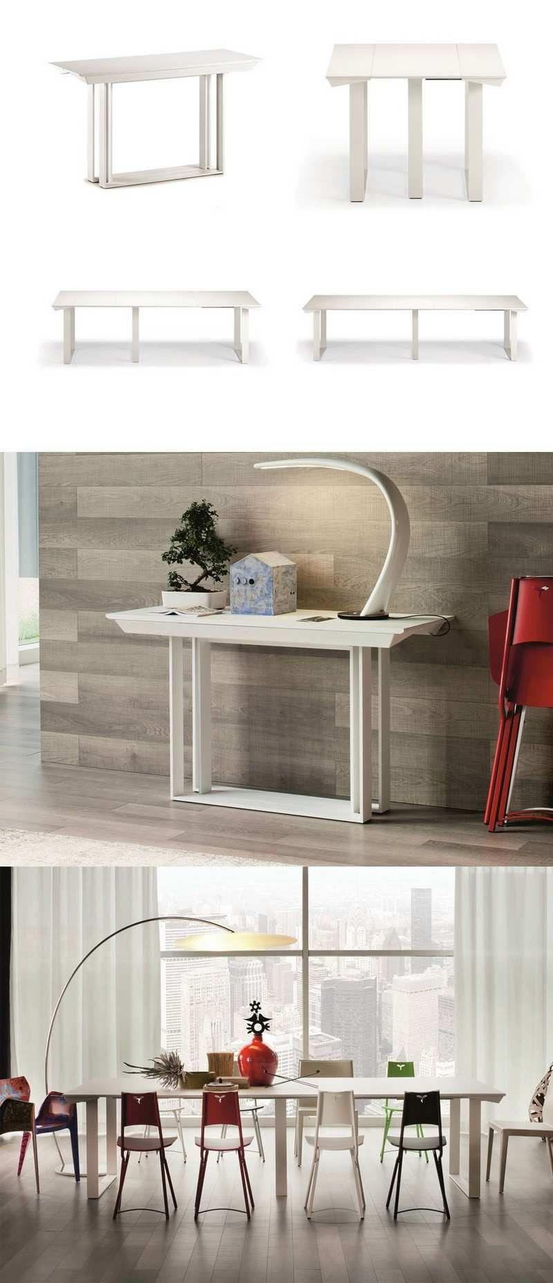 Table Gain De Place Idées Pliantes Rabattables Ou Gigogne - Console extensible blanc laque pour idees de deco de cuisine
