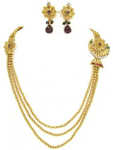 Indian Traditional Long Polki Imitation Designer Jewelry Set