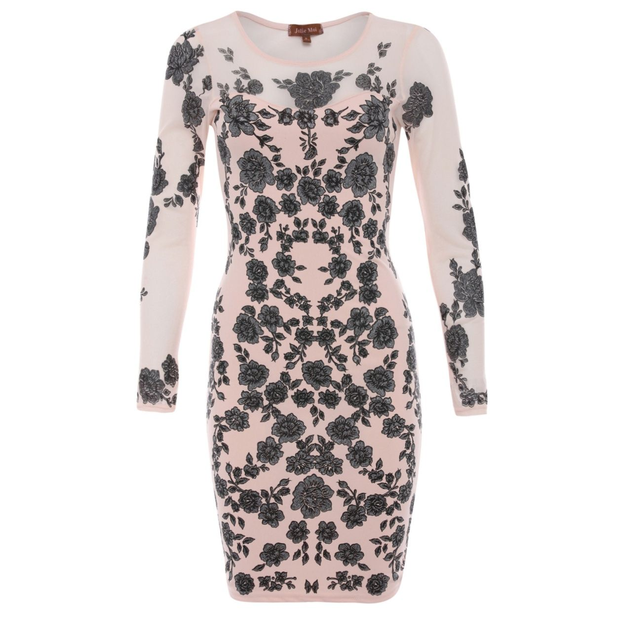 Jolie moi taupe floral mesh bodycon dress at debenhams