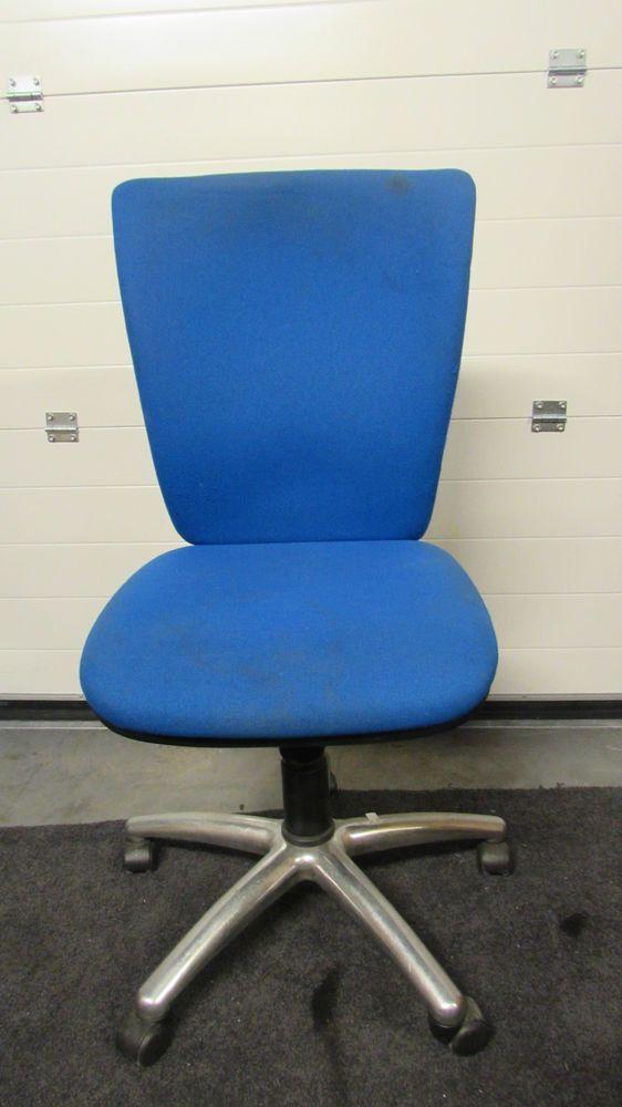 blue high back computer chair plastic swivel wheel base no arms