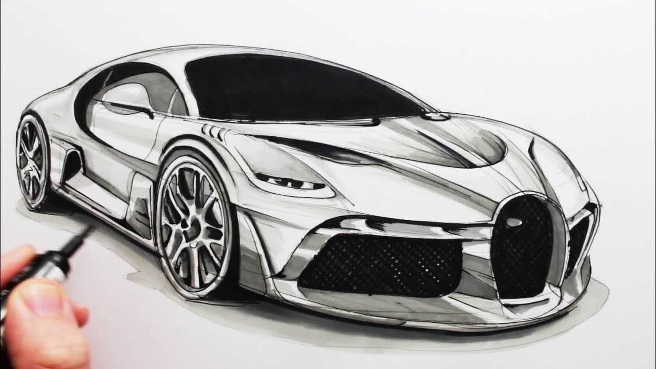 Car Drawing How To Draw A Sports Car The Bugatti Divo 2020 Super Araba Araba Sanat